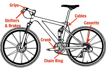 Cassette, Chain, Derailleurs, Chainrings, Shifters, Cables, Housing