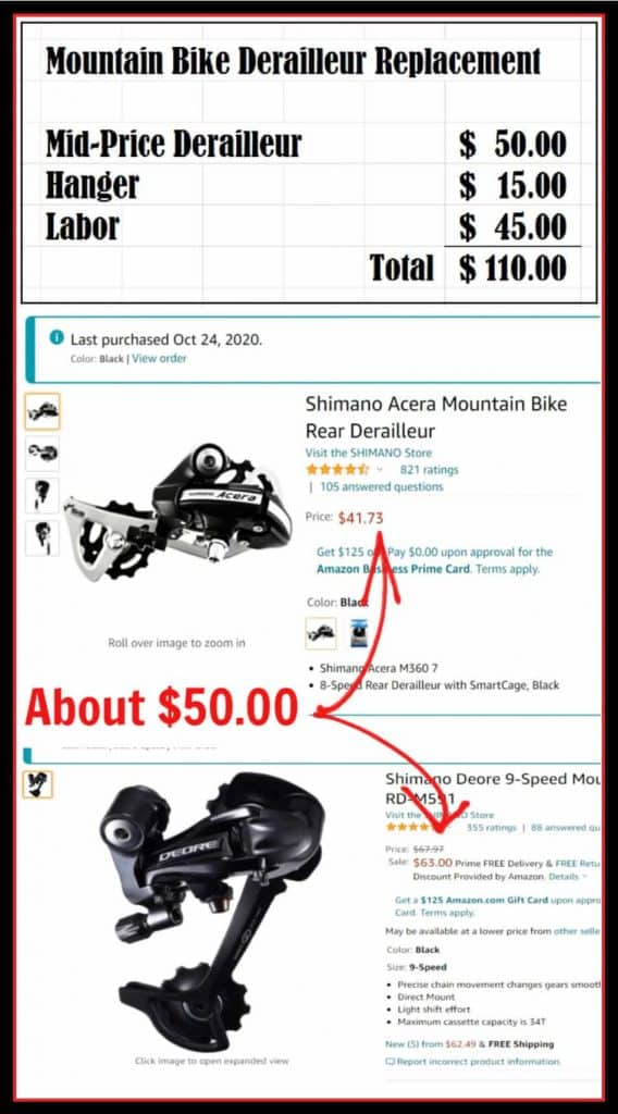 Cost to Replace MTB Rear Derailleur