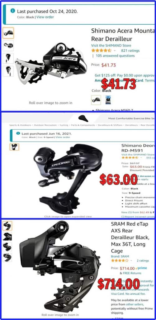 MTB Derailleur Prices